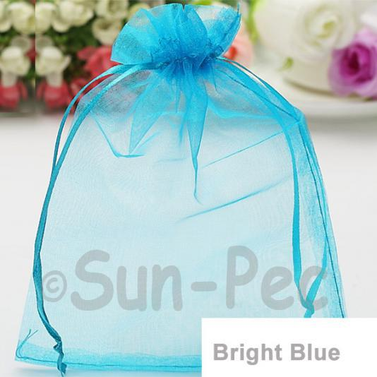 Bright Blue 10 x 12cm +-0.5cm Sheer Organza Bags for Gifts/Favours 10pcs - 50pcs