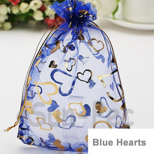 Blue Hearts 7 x 9cm +-0.5cm Sheer Organza Bags for Gifts/Favours 10pcs - 100pcs