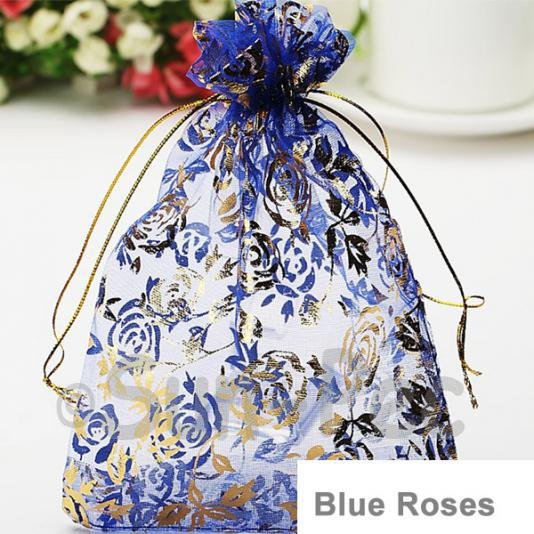 Blue Roses 7 x 9cm +-0.5cm Sheer Organza Bags for Gifts/Favours 10pcs - 100pcs