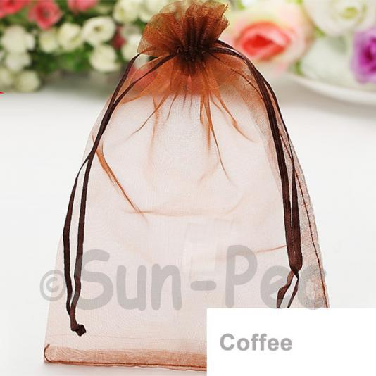 Coffee 7 x 9cm +-0.5cm Sheer Organza Bags for Gifts/Favours 10pcs - 100pcs