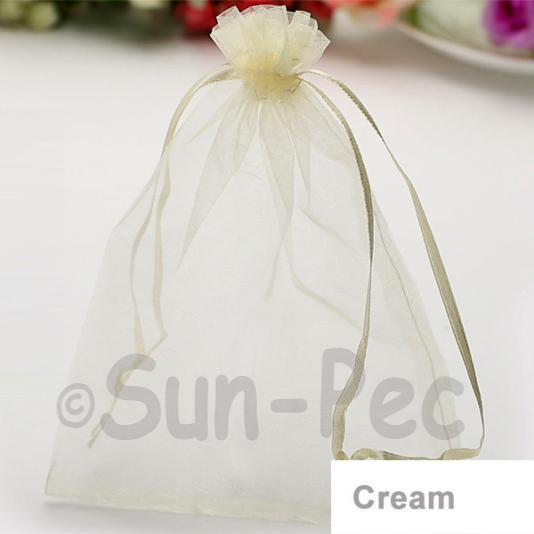 Cream 10 x 12cm +-0.5cm Sheer Organza Bags for Gifts/Favours 10pcs - 50pcs
