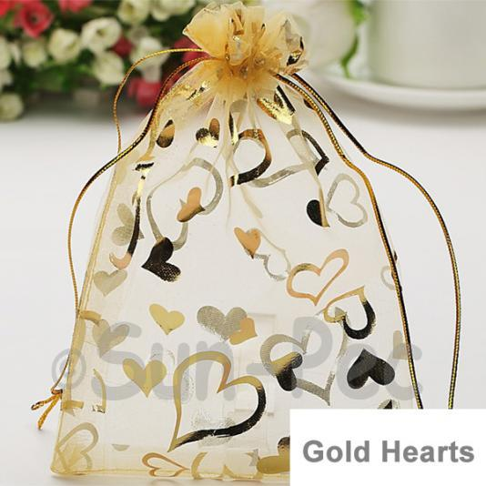 Gold Hearts 7 x 9cm +-0.5cm Sheer Organza Bags for Gifts/Favours 10pcs - 100pcs