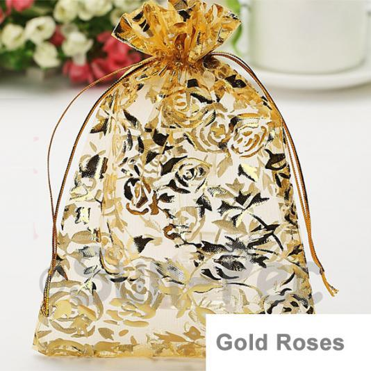 Gold Rose 10 x 12cm +-0.5cm Sheer Organza Bags for Gifts/Favours 10pcs - 50pcs