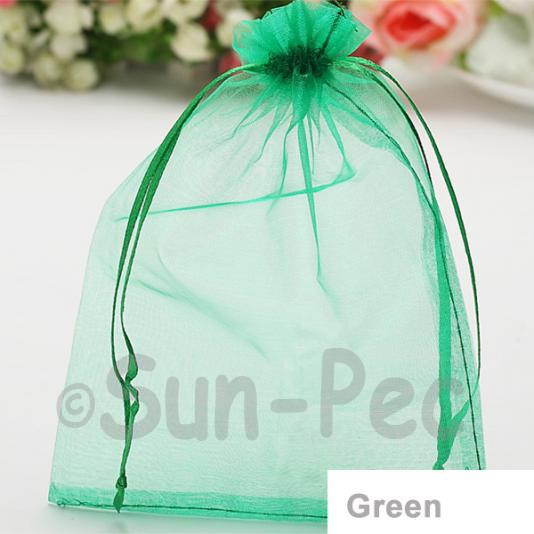 Green 7 x 9cm +-0.5cm Sheer Organza Bags for Gifts/Favours 10pcs - 100pcs