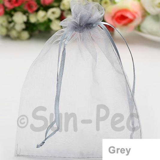 Grey 7 x 9cm +-0.5cm Sheer Organza Bags for Gifts/Favours 10pcs - 100pcs