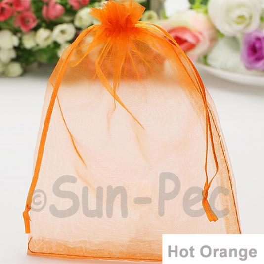 Hot Orange 10 x 12cm +-0.5cm Sheer Organza Bags for Gifts/Favours 10pcs - 50pcs