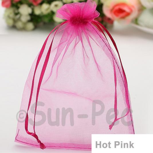 Hot Pink 7 x 9cm +-0.5cm Sheer Organza Bags for Gifts/Favours 10pcs - 100pcs