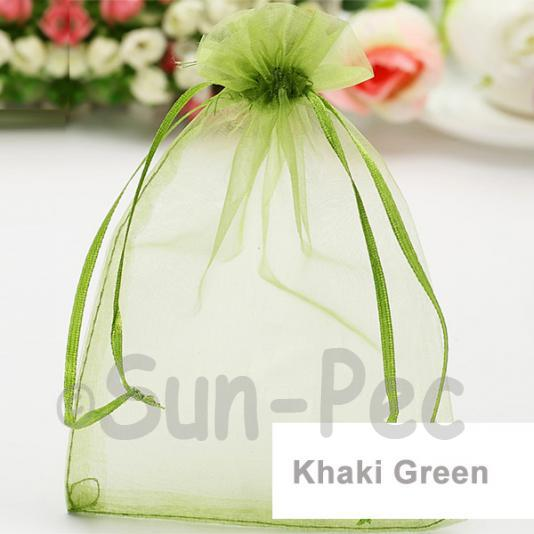 Khaki Green 10 x 12cm +-0.5cm Sheer Organza Bags for Gifts/Favours 10pcs - 50pcs