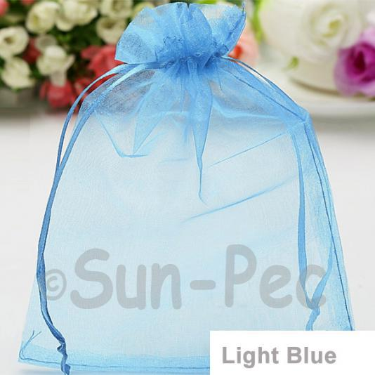 Light Blue 10 x 12cm +-0.5cm Sheer Organza Bags for Gifts/Favours 10pcs - 50pcs