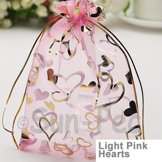 Light Pink Hearts 10 x 12cm +-0.5cm Sheer Organza Bags for Gifts/Favours 10pcs - 50pcs