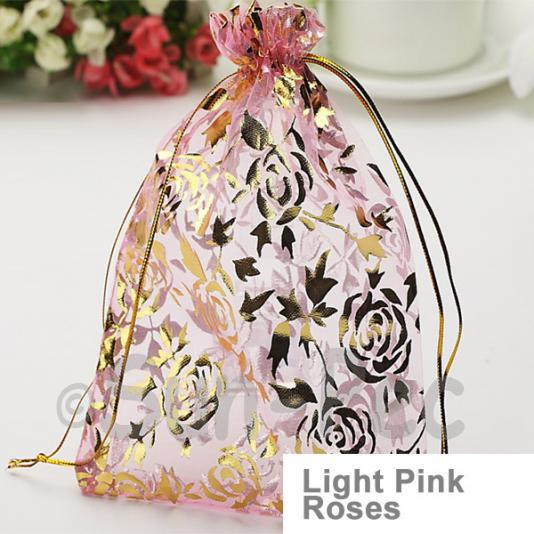 Light Pink Roses 10 x 12cm +-0.5cm Sheer Organza Bags for Gifts/Favours 10pcs - 50pcs