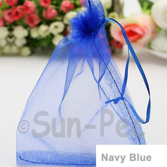 Navy Blue 10 x 12cm +-0.5cm Sheer Organza Bags for Gifts/Favours 10pcs - 50pcs