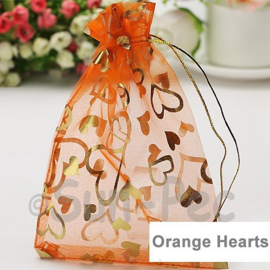 Orange Hearts 7 x 9cm +-0.5cm Sheer Organza Bags for Gifts/Favours 10pcs - 100pcs