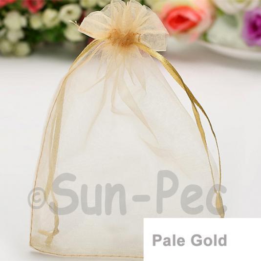 Pale Gold 10 x 12cm +-0.5cm Sheer Organza Bags for Gifts/Favours 10pcs - 50pcs