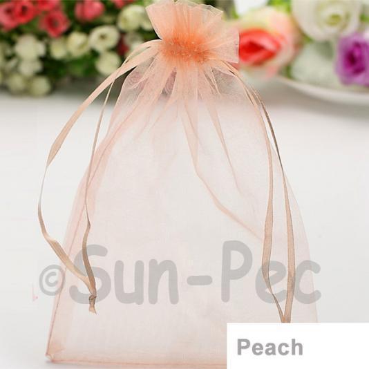 Peach 10 x 12cm +-0.5cm Sheer Organza Bags for Gifts/Favours 10pcs - 50pcs