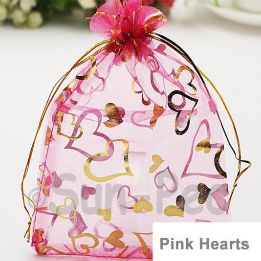 Pink Hearts 10 x 12cm +-0.5cm Sheer Organza Bags for Gifts/Favours 10pcs - 50pcs