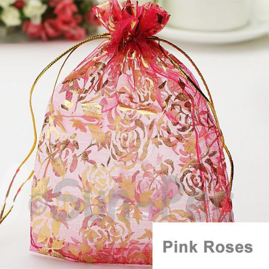 Pink Roses 10 x 12cm +-0.5cm Sheer Organza Bags for Gifts/Favours 10pcs - 50pcs