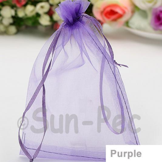Purple 7 x 9cm +-0.5cm Sheer Organza Bags for Gifts/Favours 10pcs - 100pcs