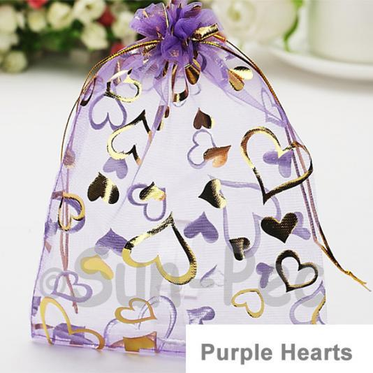 Purple Hearts 7 x 9cm +-0.5cm Sheer Organza Bags for Gifts/Favours 10pcs - 100pcs