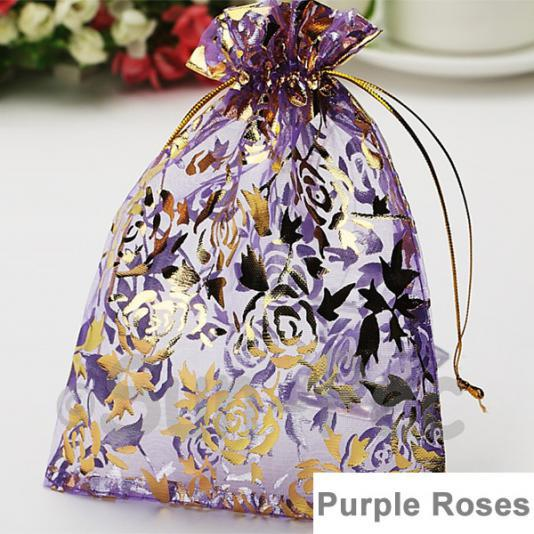 Purple Rose 7 x 9cm +-0.5cm Sheer Organza Bags for Gifts/Favours 10pcs - 100pcs