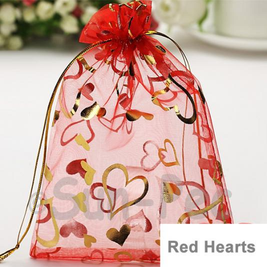 Red Hearts 10 x 12cm +-0.5cm Sheer Organza Bags for Gifts/Favours 10pcs - 50pcs