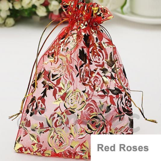 Red Roses 10 x 12cm +-0.5cm Sheer Organza Bags for Gifts/Favours 10pcs - 50pcs