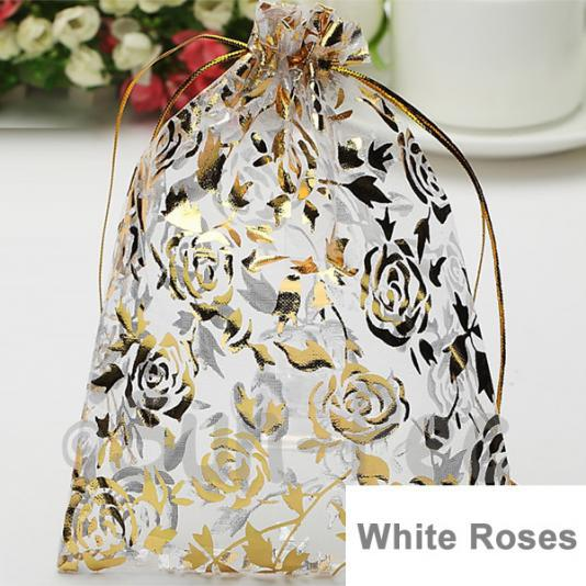 White Roses 10 x 12cm +-0.5cm Sheer Organza Bags for Gifts/Favours 10pcs - 50pcs